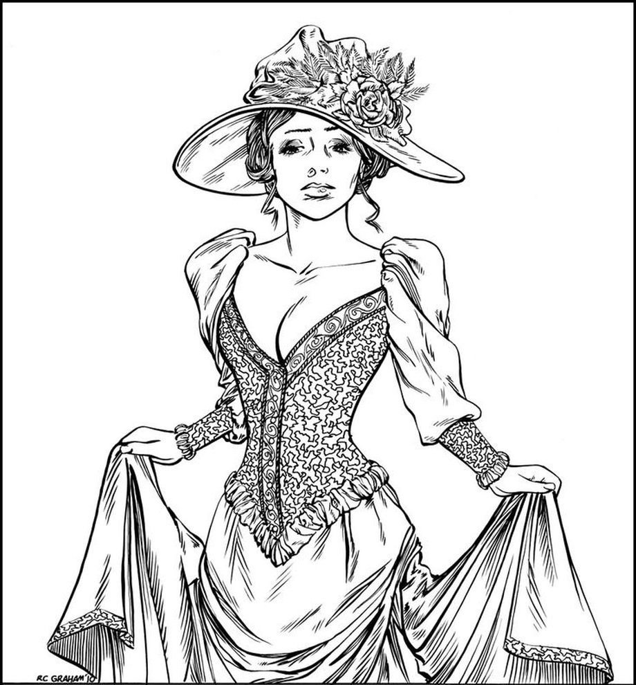 920x990 Victorian Woman Realistic Coloring Pages For Adults Free