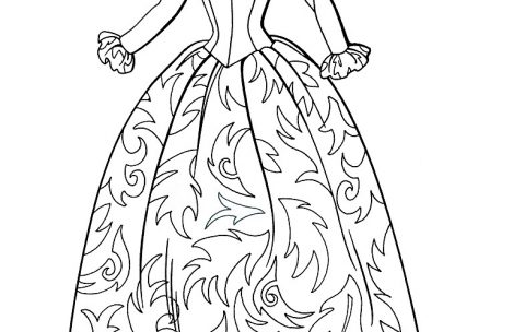 469x304 Kid Coloring Pages Printable Girls In Long Dresses Victorian Era