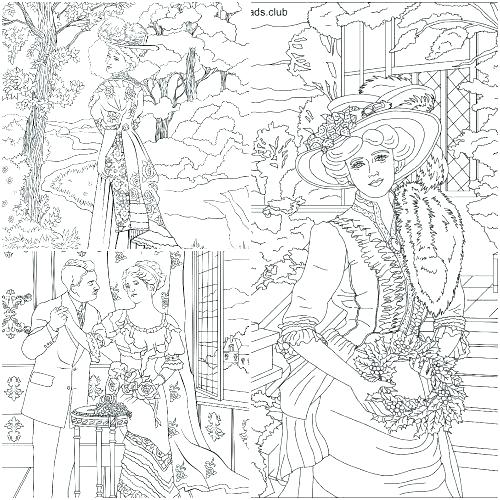 500x500 Victorian Ladies Coloring Pages Coloring Collection