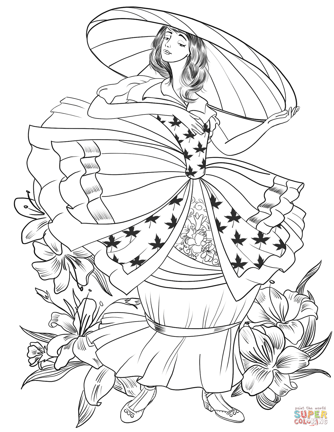1159x1500 Important Ladies Hat Coloring Pages Victorian Lady In The Big Page