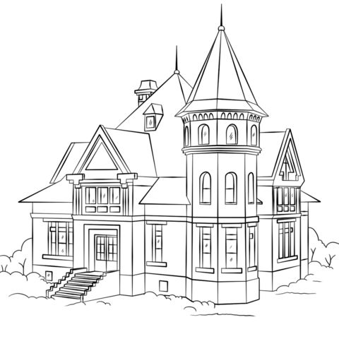 480x480 House Coloring Page
