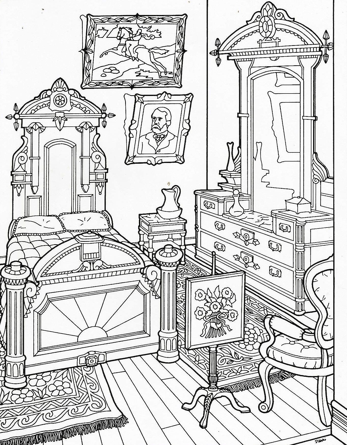 1414x1813 Victorian Home Coloring Page History Social Studies Culture