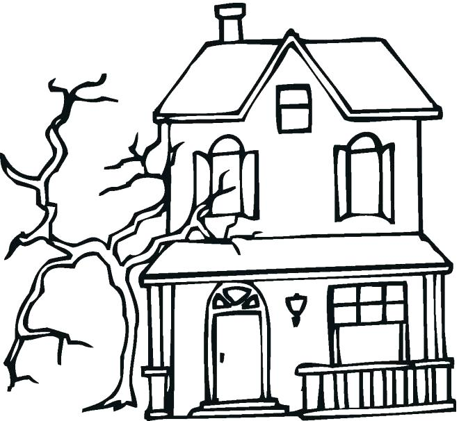 660x606 Coloring Pages Of Houses Houses Coloring Pages Free Haunted House