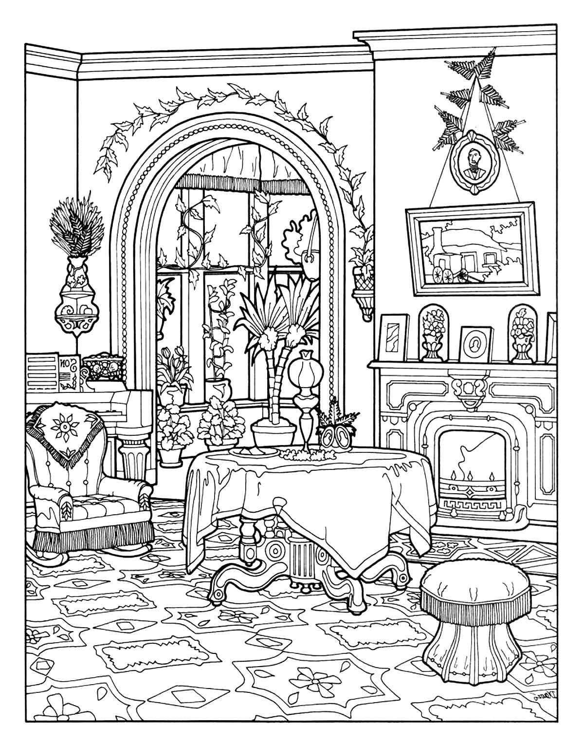 Victorian House Coloring Pages Free