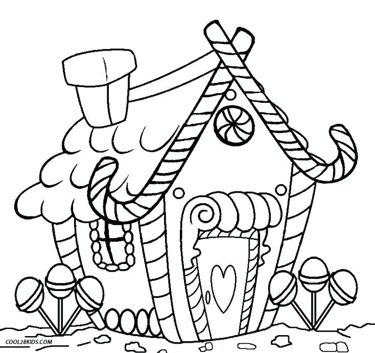 734x690 Printable Gingerbread House Coloring Pages For Kids