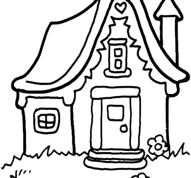 645x600 Coloring Page House Coloring Page