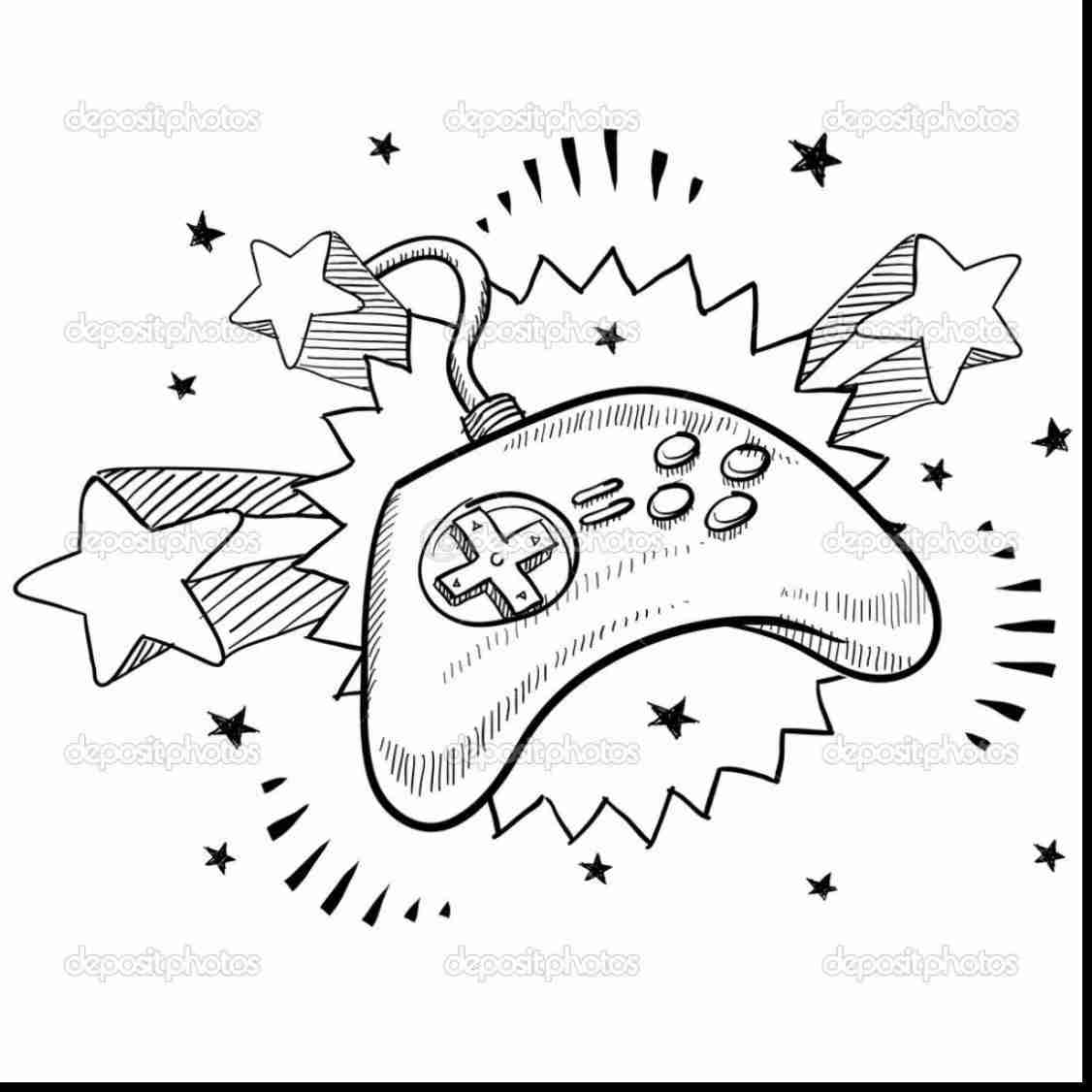 1126x1126 Surprising Game Controller Drawing With Video Coloring Pages