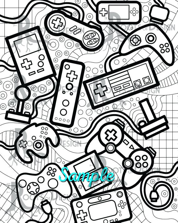 570x713 Video Game Coloring Pages Instant Download Coloring Page Video