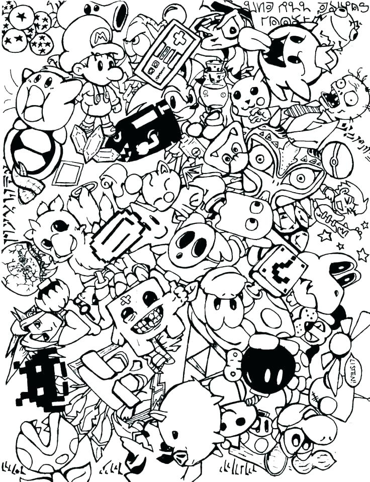 736x958 Coloring Pages Video Games Coloring Pages Of Kir Video Game
