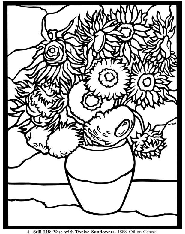 617x780 Sunflower Coloring Page Van Gogh Sunflower Coloring Page Van