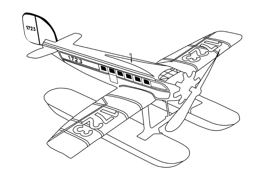 1000x667 Vintage Airplane Coloring Page