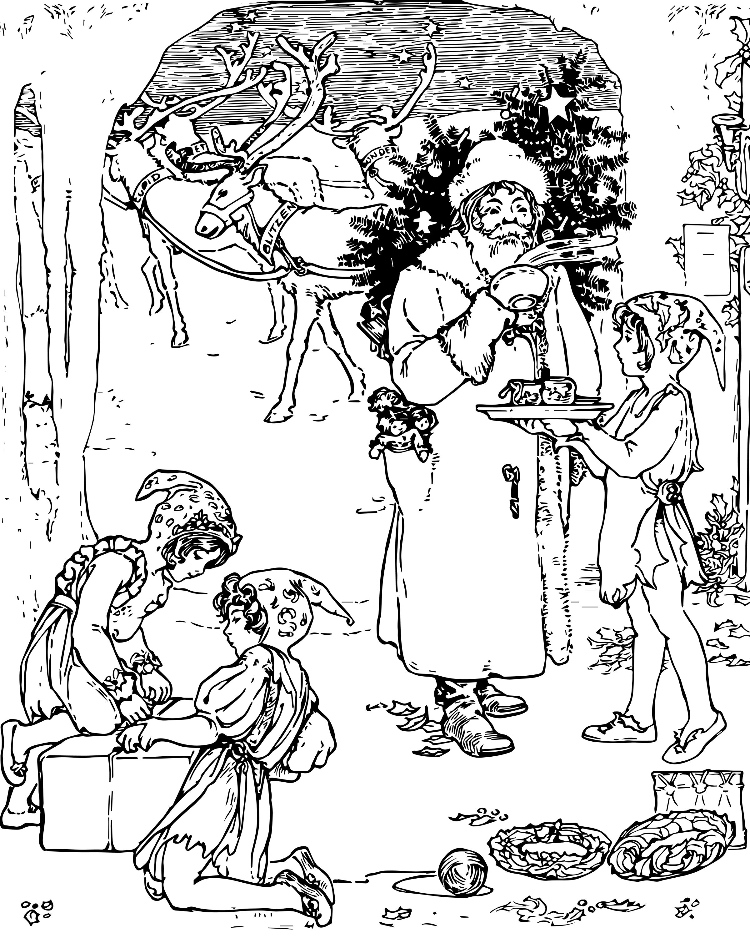 2400x3000 Free Vintage Christmas Coloring Page For Adults