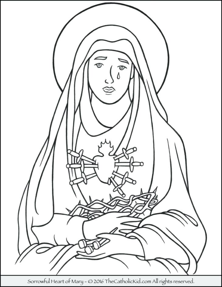 730x945 Mary Coloring Page Sorrowful Heart Of Coloring Page Virgin Mary