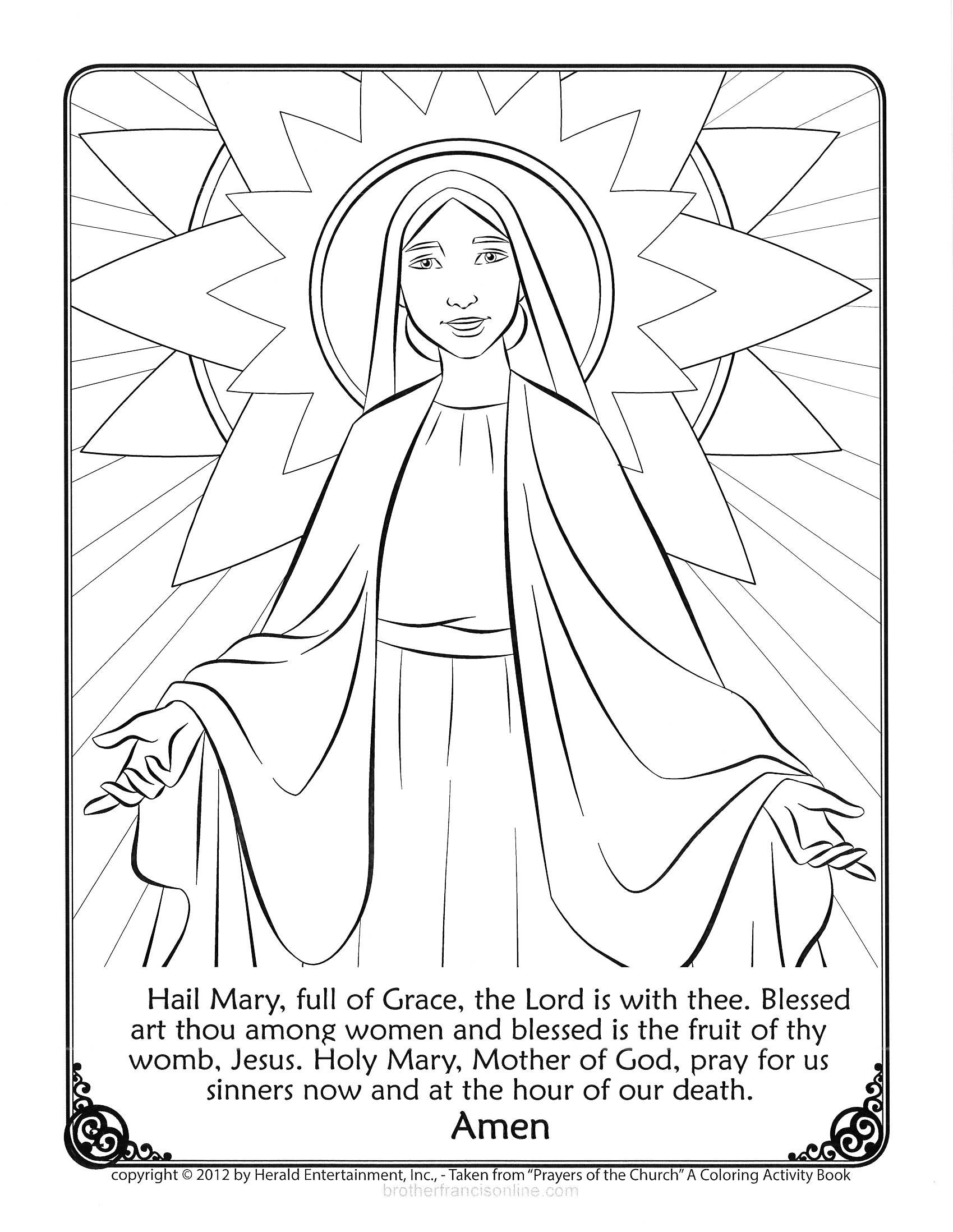 1699x2196 Mary Coloring Page With The Hail Mary Prayer Printed Below Color
