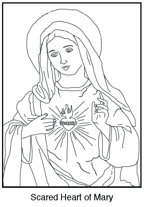 501x712 Mary Coloring Pages Free Coloring Page The Immaculate Heart
