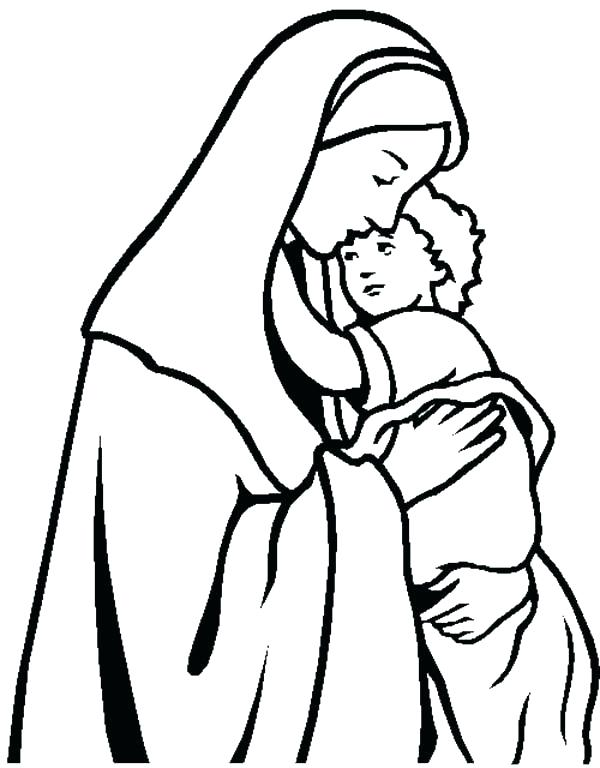 600x768 Mother Mary Coloring Page Printable Coloring And Coloring Page