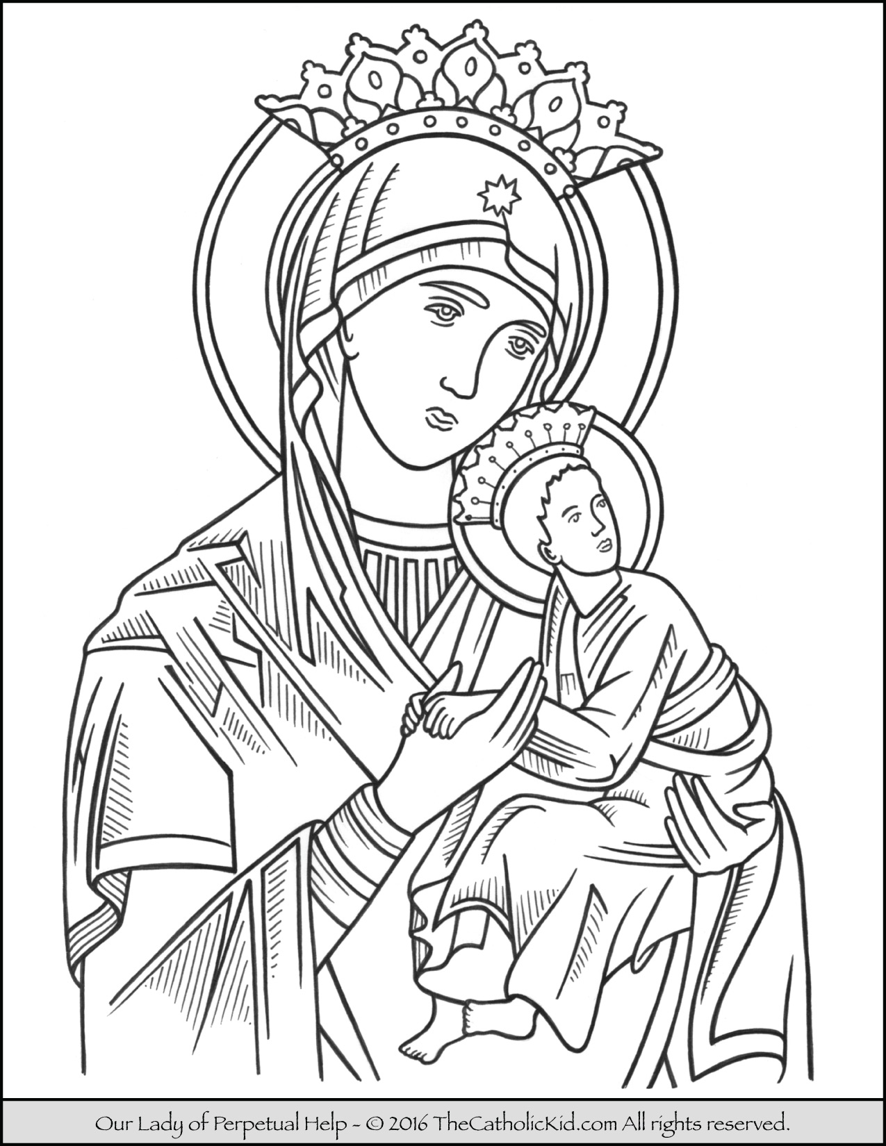 1275x1650 Our Lady Of Perpetual Help Coloring Page Catholic Coloring Pages
