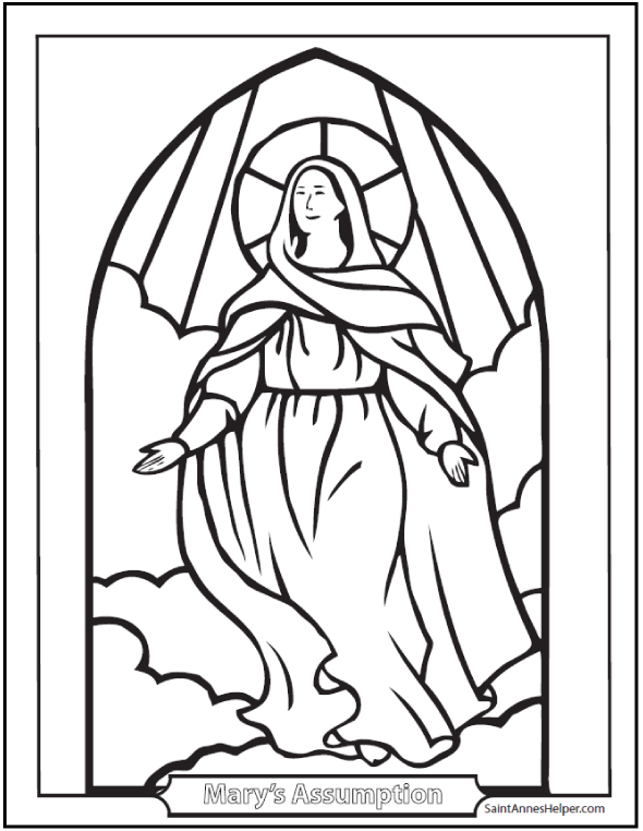 590x762 Assumption Coloring Picture Of Mary