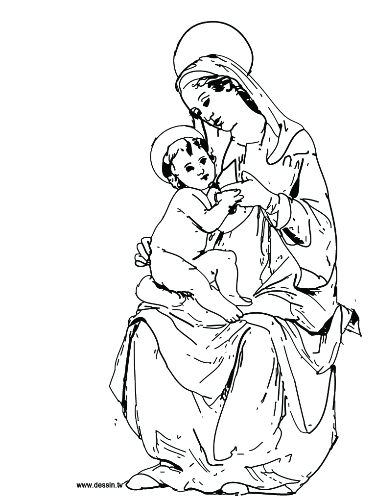 768x1024 Coloring Virgin Mary