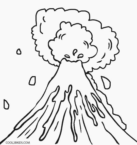 540x574 Printable Volcano Coloring Pages For Kids