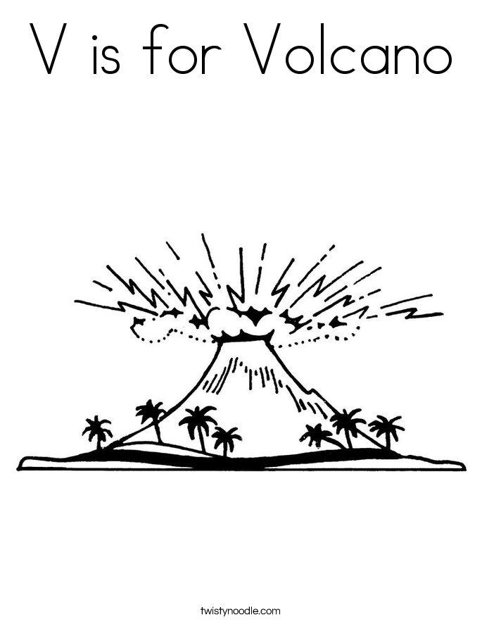685x886 V Is For Volcano Coloring Page