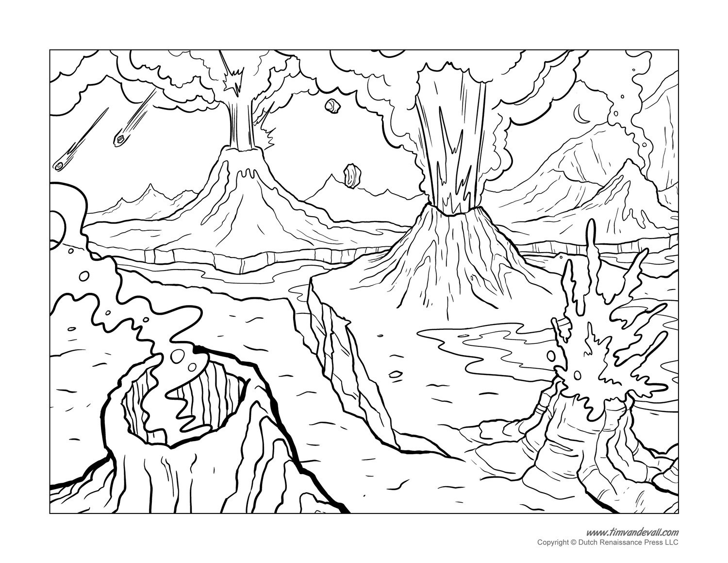 1500x1159 Volcano Coloring Page Thatswhatsup