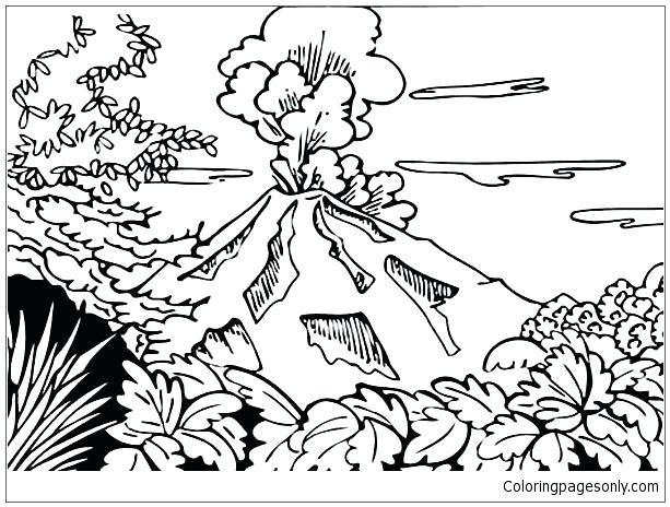 613x464 Volcano Coloring Pages And Erupting Volcano Coloring Page Volcano