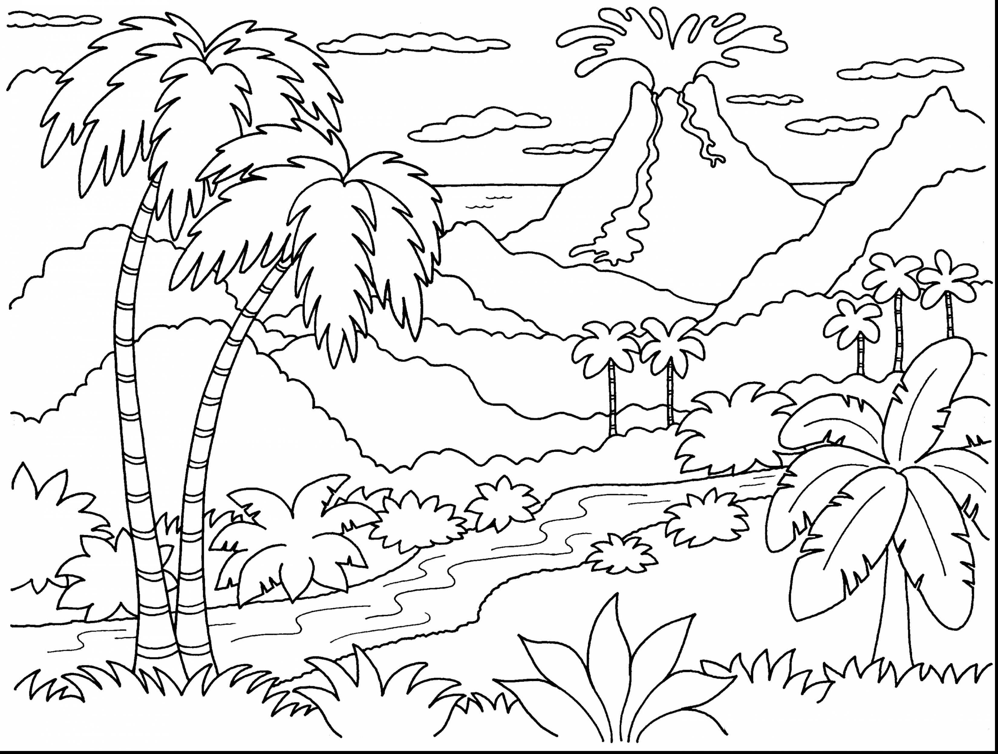 3300x2493 Remarkable Volcano Island Coloring Page With Volcano Coloring