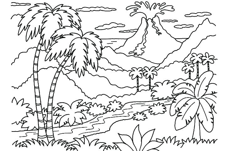 720x480 Volcano Coloring Pages