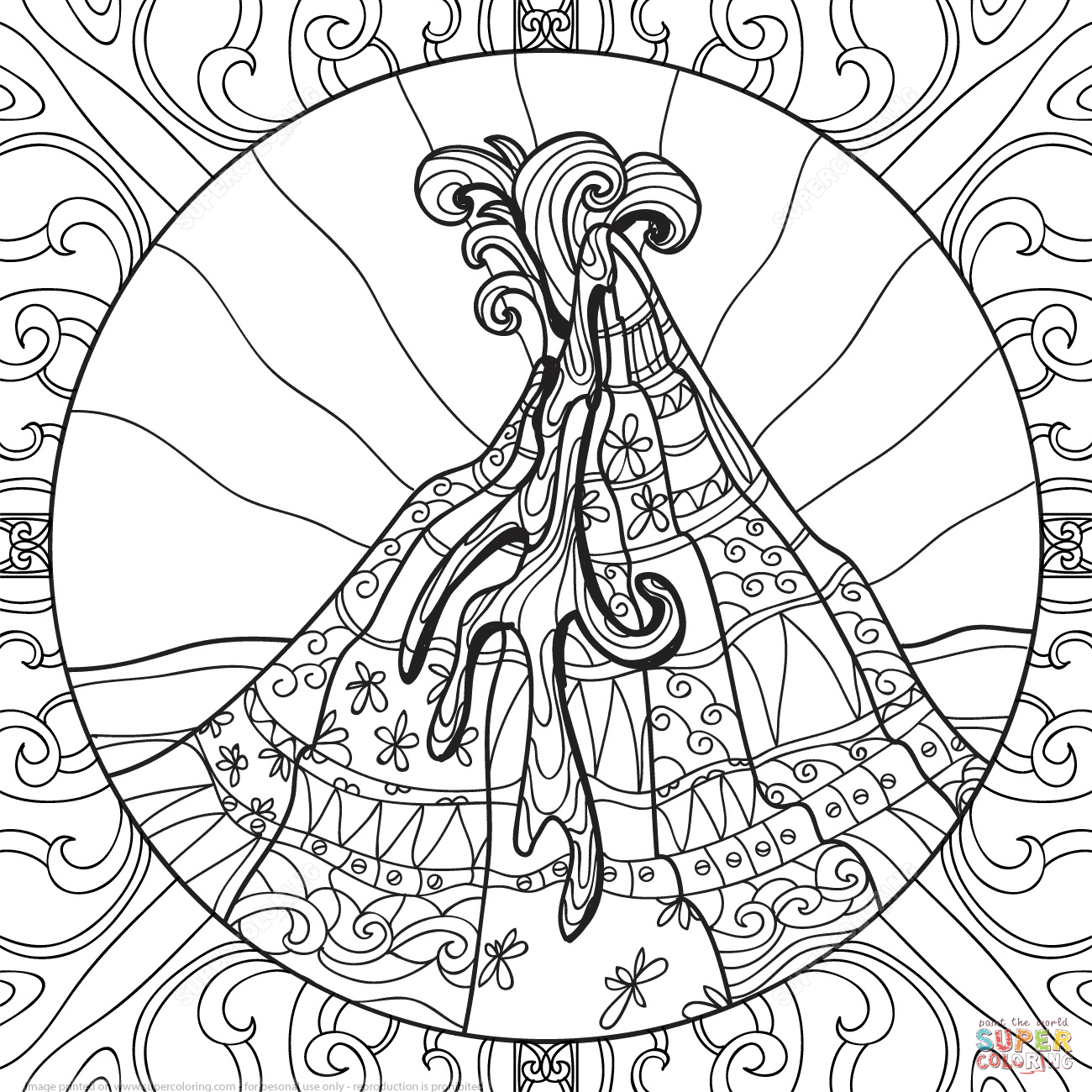 1300x1300 Volcano Zentangle Coloring Page Fireworks