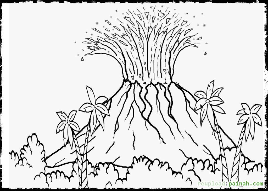 1024x728 Volcano Coloring Pages Free For Volcano Landscape Ideas Elem