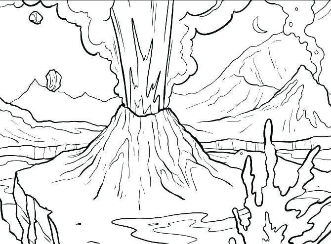 670x494 Coloring Pages Of Volcanoes Volcano Coloring Pages Volcano