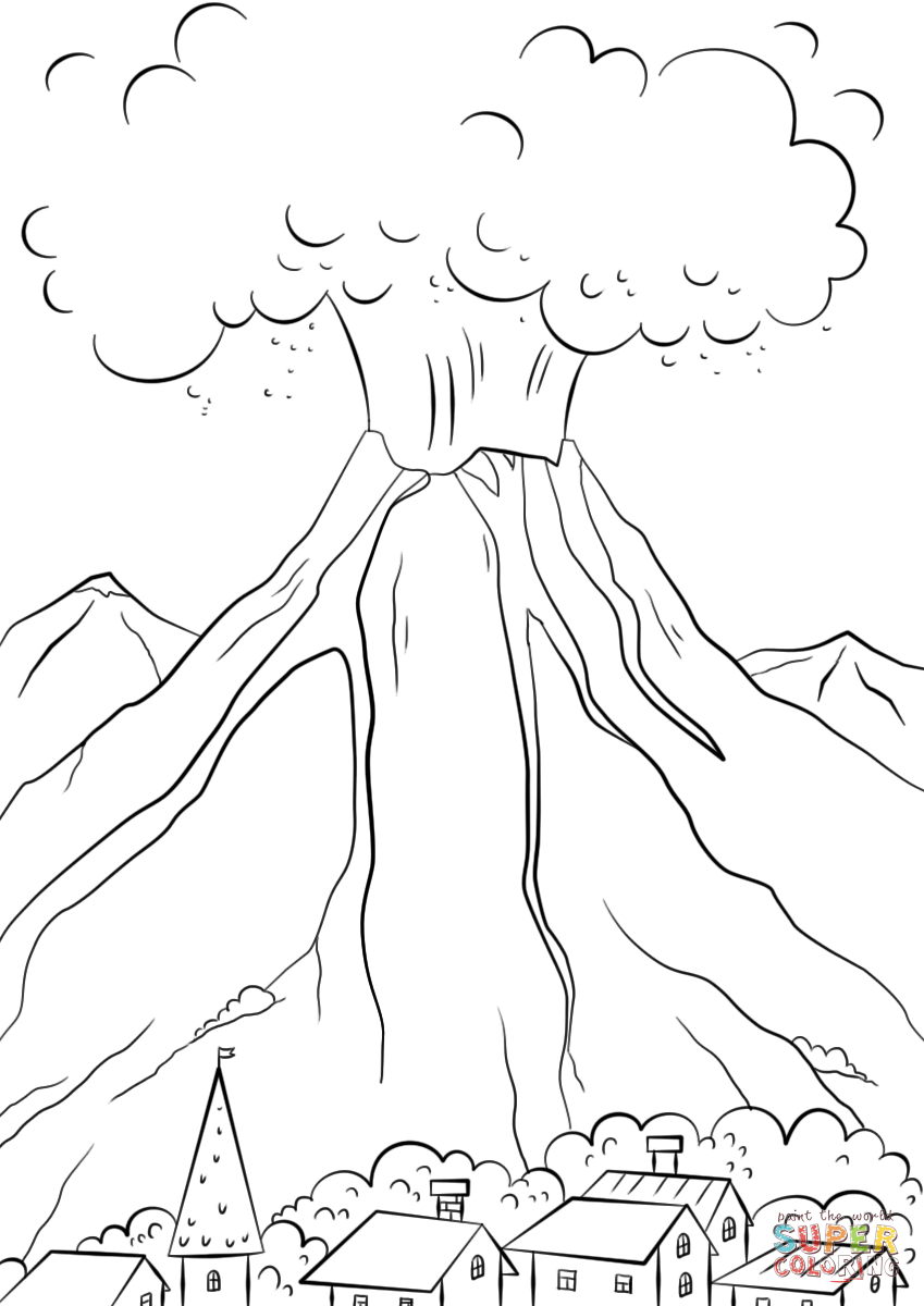 Volcano Eruption Coloring Pages