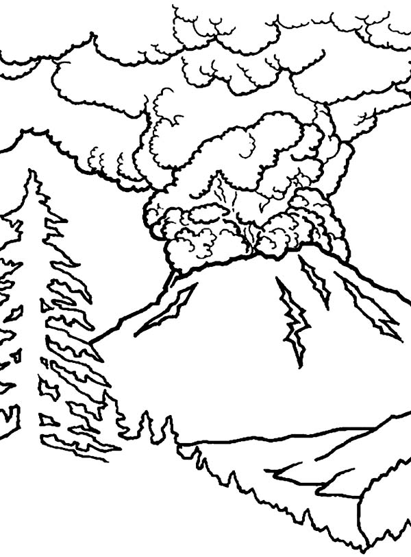 Volcano Eruption Coloring Pages At Getdrawings Com Free For