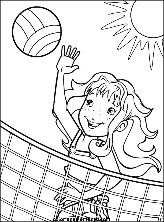 630x850 Playing Volleyball Coloring Page