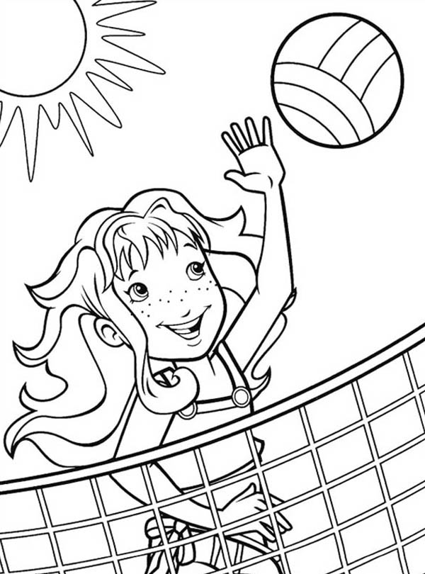 600x810 A Girl Blocking The Volleyball Coloring Page