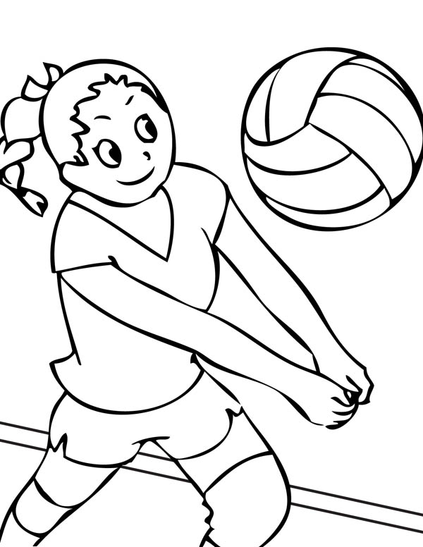 600x776 Girls Volleyball Team Coloring Page