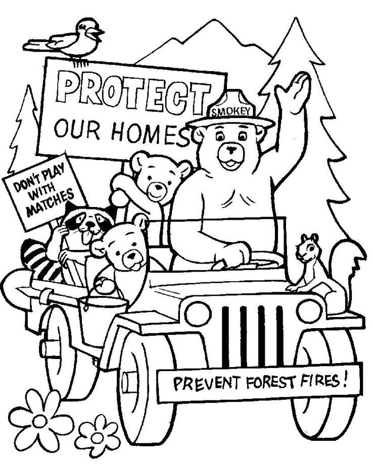 736x921 Smokey The Bear And Friends Coloring Page Crafts Coloring Pages