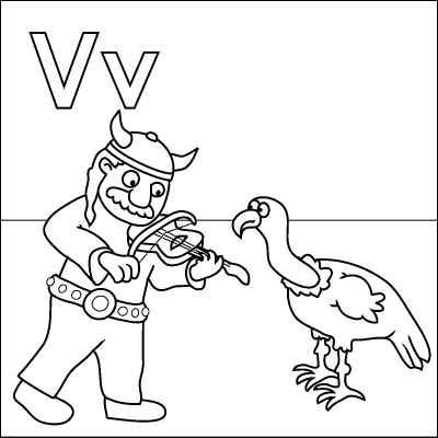 400x400 Letter V Coloring Page