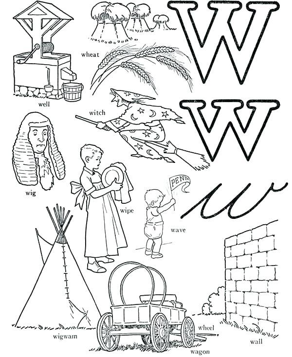 600x734 Letter W Coloring Pages W Coloring Page Letter W Words Learning