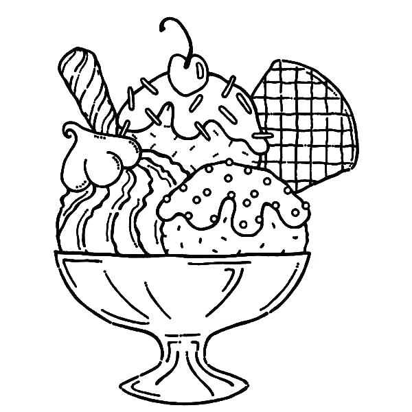 600x600 Ice Cream Sundae Coloring Page Drawn Waffle Cone Coloring Book