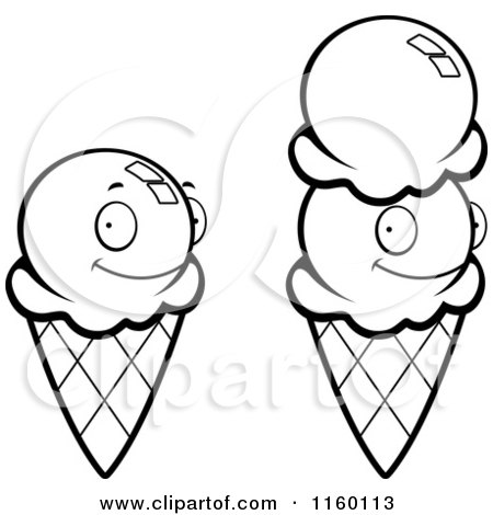450x470 Cartoon Clipart Of Black And White Waffle Ice Cream Cones
