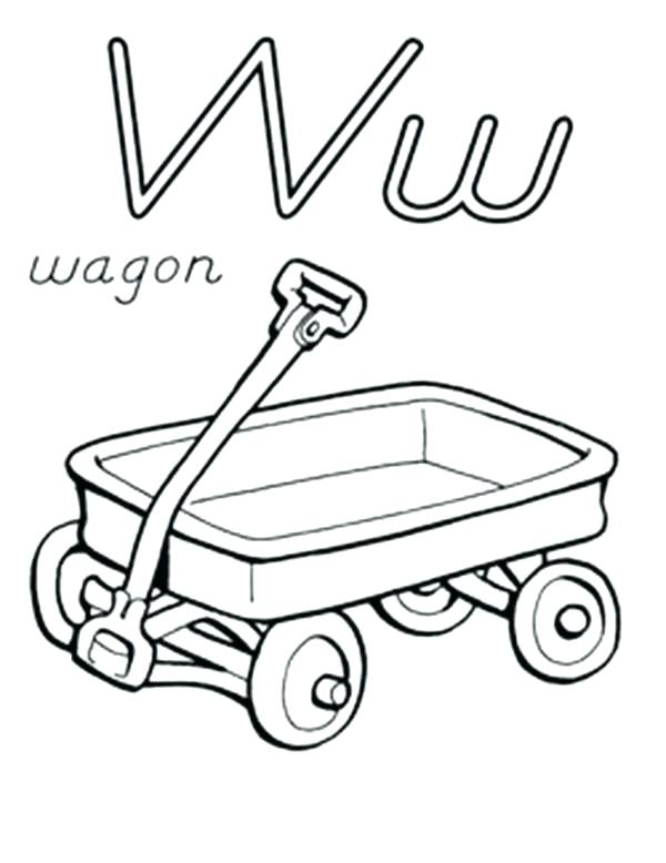 600x778 Wagon Coloring Pages Wagon Coloring Page Letter W For Wagon