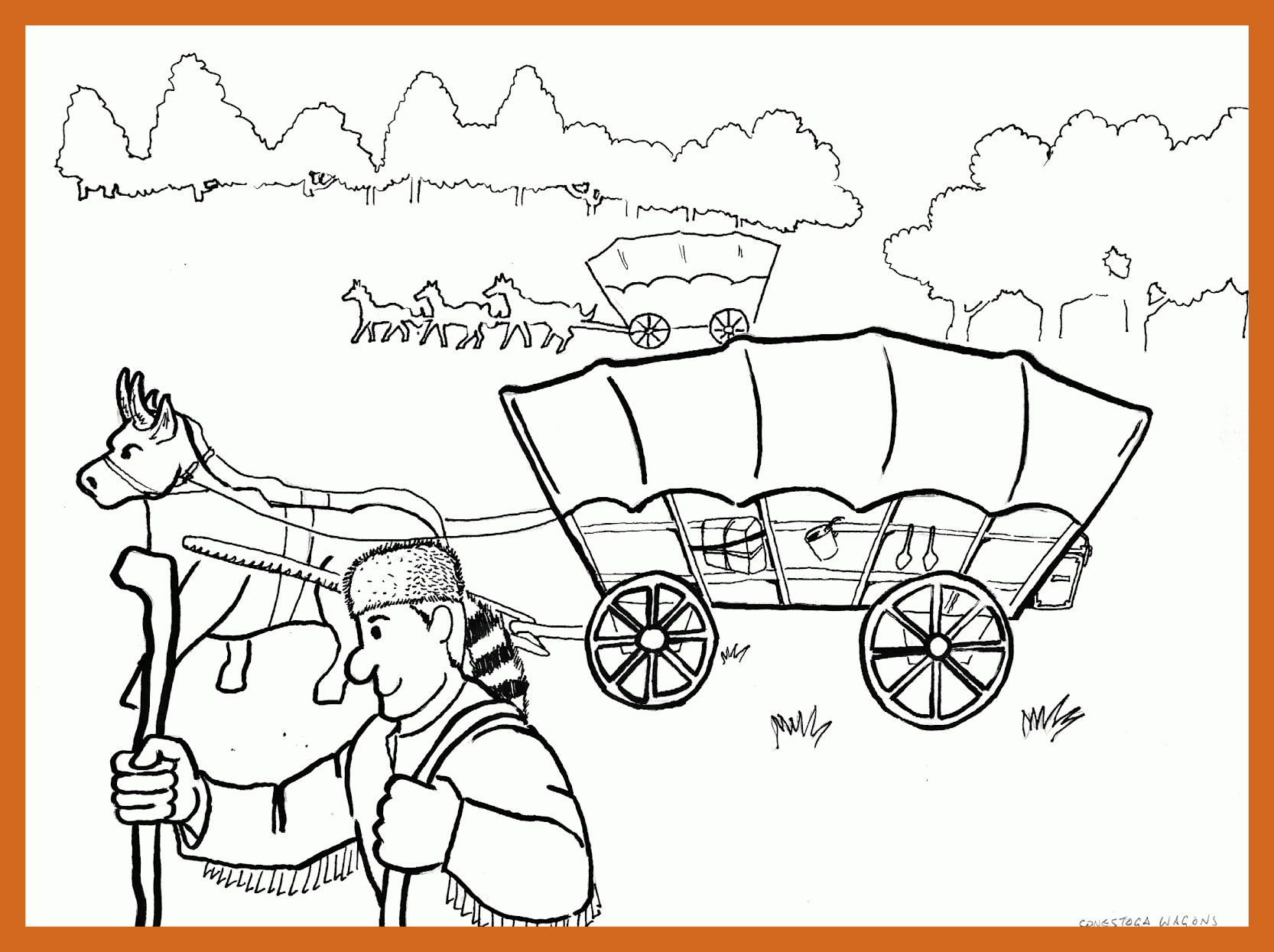 1666x1245 Covered Wagon Coloring Page Newyork Rp Com Brilliant Tixac
