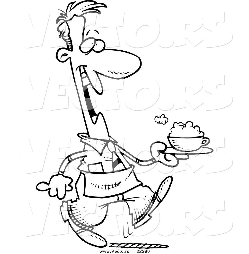 1024x1044 Vector Of A Cartoon Waiter Serving A Cappuccino