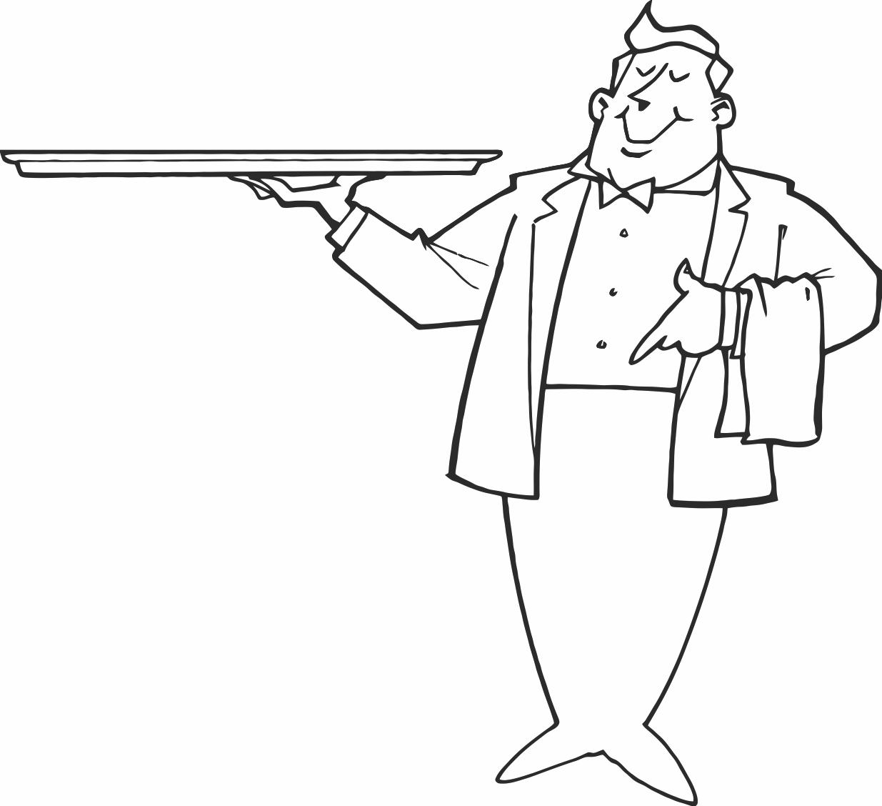 1235x1128 Waiter Holding Tray Printable Image Illustration Sketch For Waiter