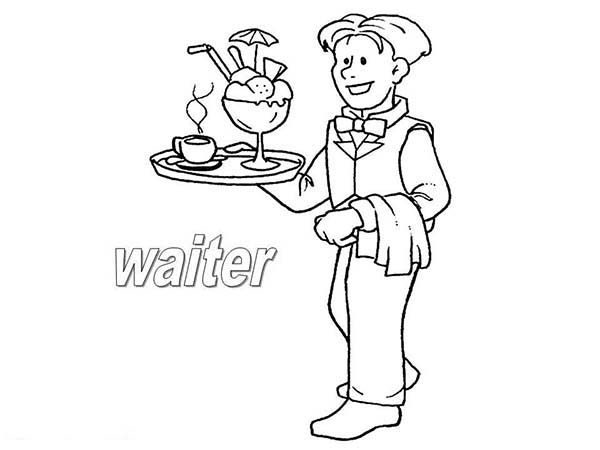 600x450 Waiter Waitress Coloring Coloring Pages, Coloring