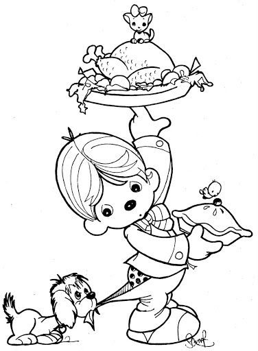 376x512 Waiter Coloring Page Patterns Precious Moments