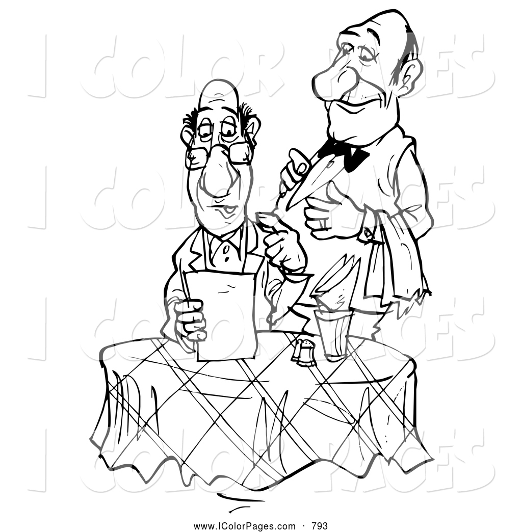 1024x1044 Coloring Page Of A Black And White Coloring Page Sketched Waiter