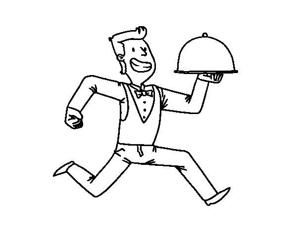 600x470 Efficient Waiter Coloring Page
